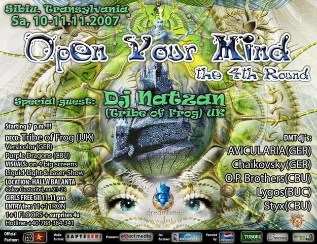 Party flyer: [[11:11]] OPEN YOUR MIND 4th Round 10 Nov '07, 19:00