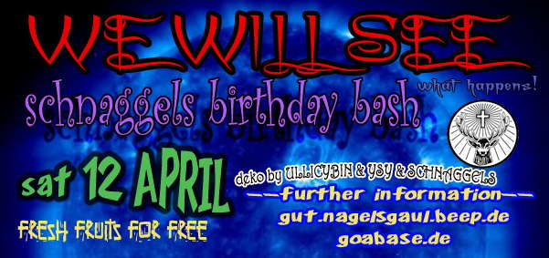 WE WILL SEE schnaggel´s birthday bash 12 Apr '08, 20:00