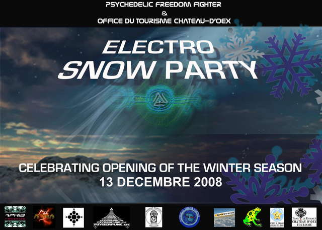 Party flyer: Electro Snow Party Live: Aphid Moon ,ATMA 13 Dec '08, 17:00