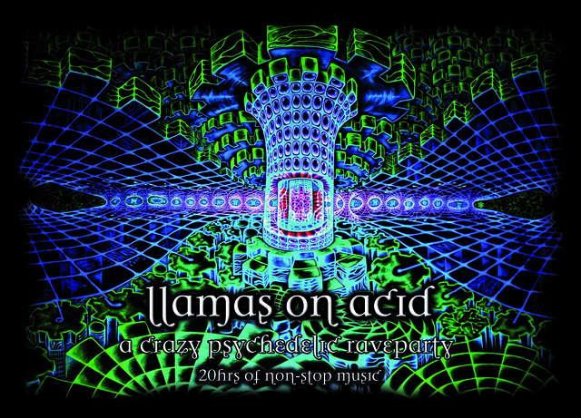 Party flyer: Llamas on Acid @ Cusco, Peru 14 Feb '09, 22:00