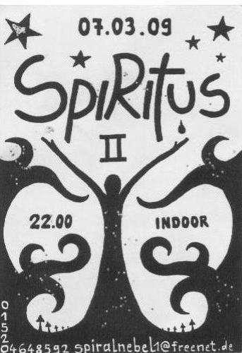 Party flyer: #Spiritus 2 -Indoor Experiment- 7 Mar '09, 22:00