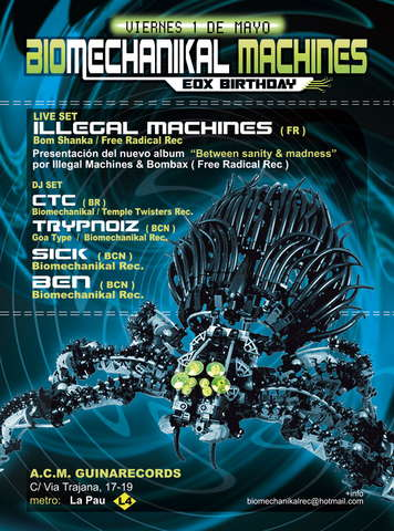 Party flyer: BIOMECHANIKAL MACHINES PART 2 - EOX Birthday 1 May '09, 23:00