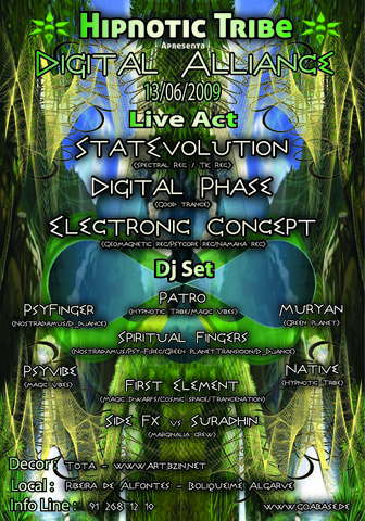 "Hypnotic Tribe Presents""Digital Alliance"" 13 Jun '09, 22:00"