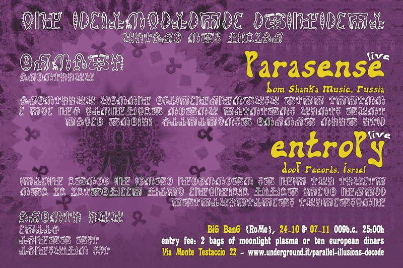 SHANTI! Parallel Illusions, Entropy Live 7 Nov '09, 23:30