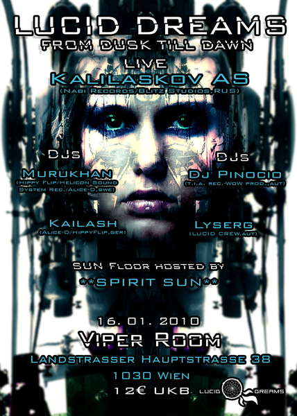 Party flyer: *LUCID DREAMS* FROM DUSK TILL DAWN with KALILASKOV AS 16 Jan '10, 21:00