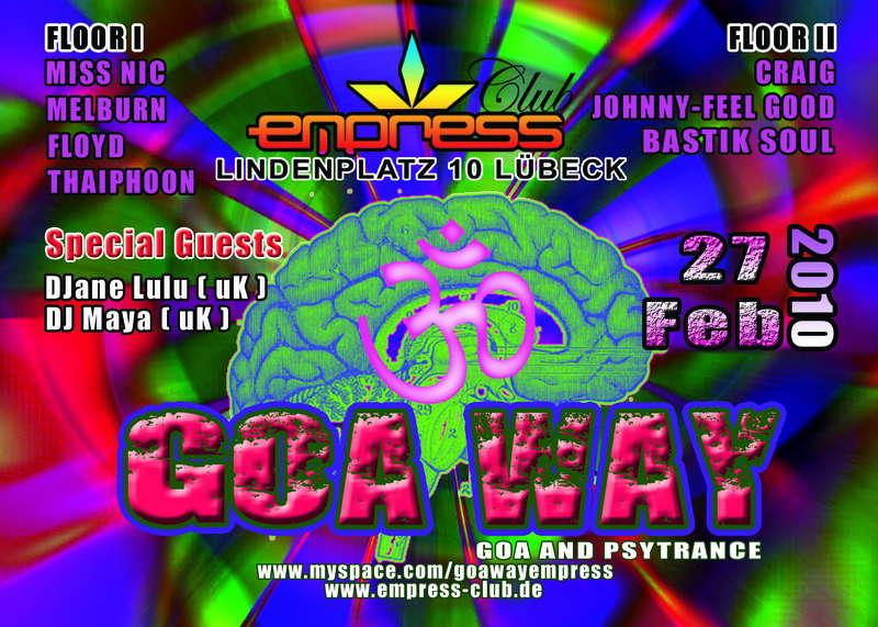 Party flyer: GOA WAY 27 Feb '10, 22:00