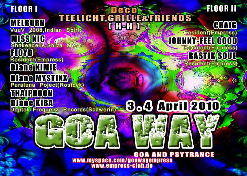 Party flyer: GOA WAY 3 Apr '10, 22:00