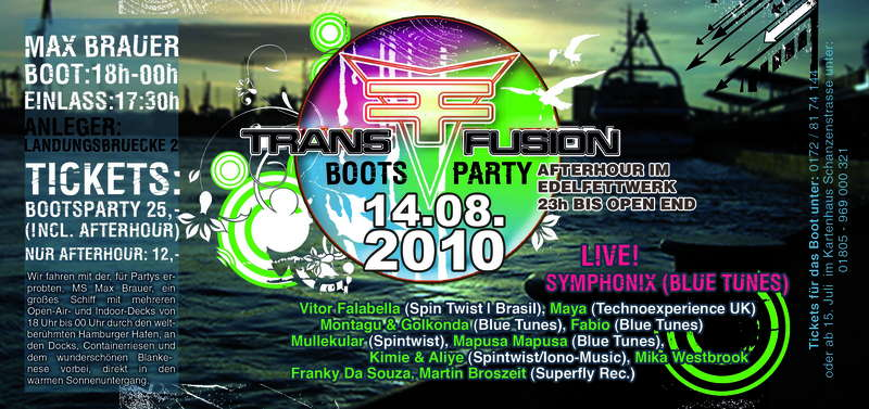 Party Flyer · TransFusion Bootsparty & Afterhour · 14 Aug 2010 ...