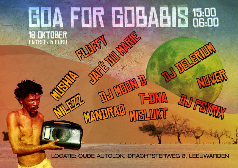 Party flyer: Goa for Gobabis (Beneficial psytrance gathering) 16 Oct '10, 15:00