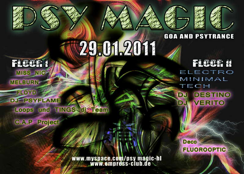 Party flyer: Psy Magic 29 Jan '11, 22:00