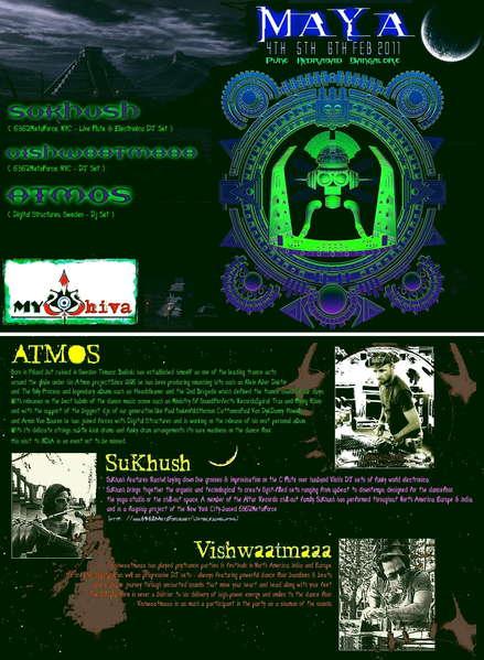 Party flyer: ATMOS SUKHUSH VISHWAATMAA in MAYA India Tour 4 Feb '11, 05:00