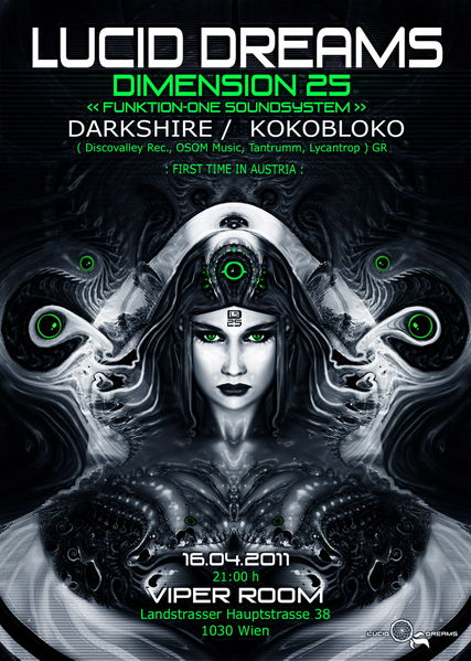 Party flyer: *LUCID DREAMS* DIMENSION 25 with DARKSHIRE/KOKOBLOKO 16 Apr '11, 21:00