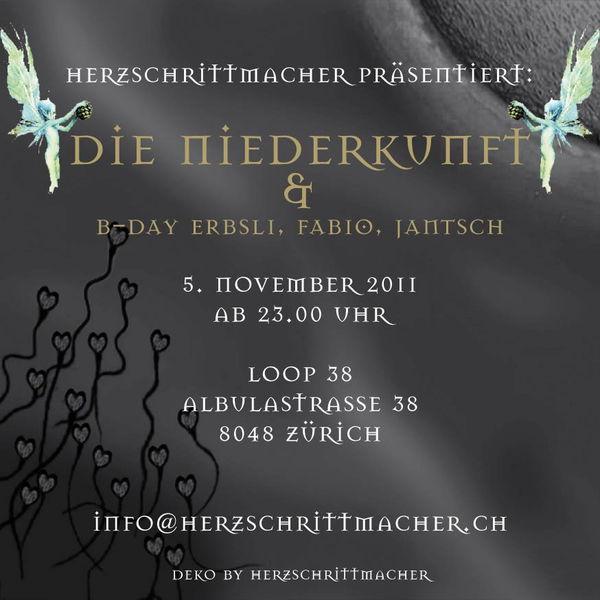 HERZSCHRITTMACHER präsentiert: Die Niederkunft 5 Nov '11, 23:00