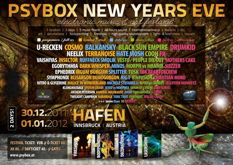 Party flyer: PSYBOX NYE - ELECTRONIC MUSIC & ART FESTIVAL on 5 FLOORS !!! 30 Dec '11, 22:00