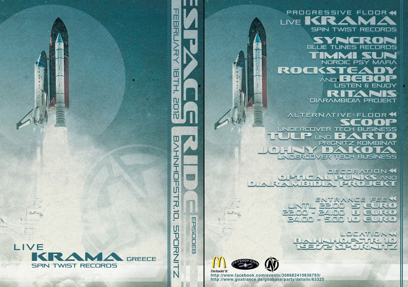 Party flyer: SPACE RIDE 8 // KRAMA live // 18 Feb '12, 22:00