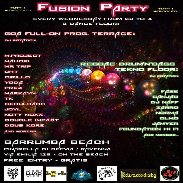 Party flyer: FUSION PARTY - Free party Goa & Reggae/Drum/Tekno 22 Aug '12, 22:00
