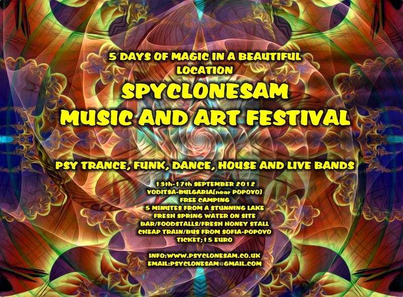 Party flyer: PsycloneSam Music and Art Festival 13 Sep '12, 12:00