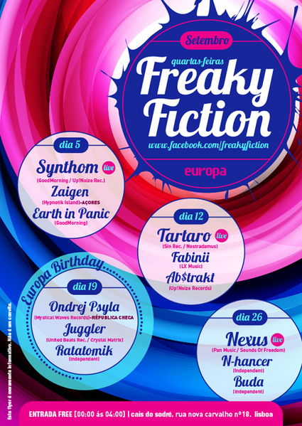 Party flyer: Freaky Fiction 19 Sep '12, 23:30