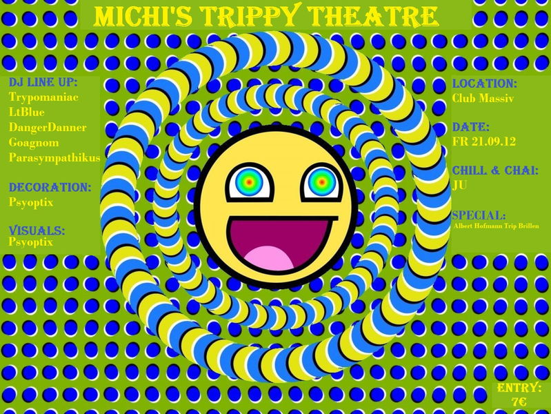 Party flyer: Michi's Trippy Theatre 21 Sep '12, 21:00