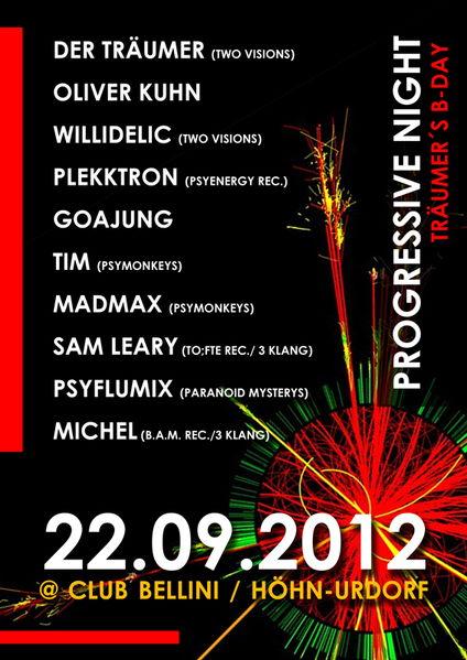Party flyer: Progressive Night - Träumer´s B-Day 22 Sep '12, 21:00