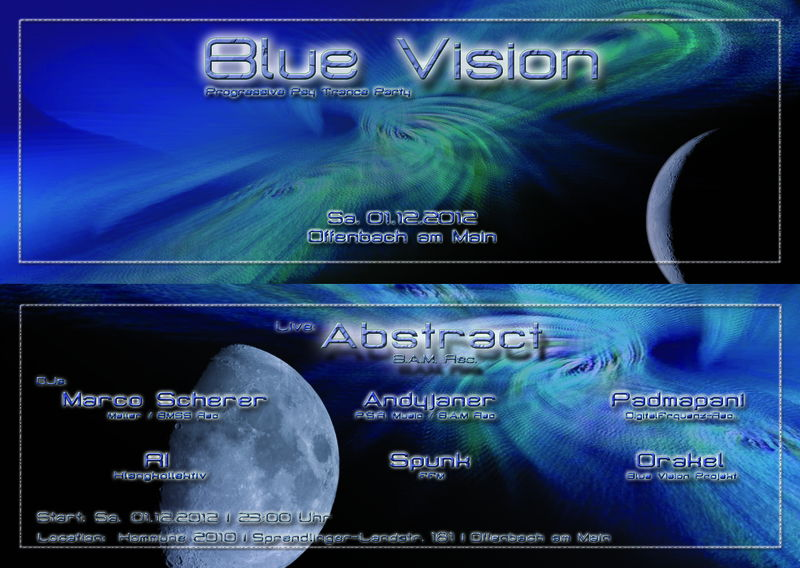 Party flyer: Blue Vision 1 Dec '12, 23:00