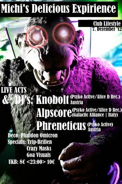 Party flyer: Michi's Delicious Expirience 7 Dec '12, 21:00