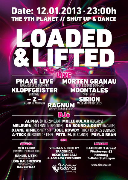 Party flyer: loaded & lifted - the 9th planet // shut up & dance 12 Jan '13, 23:00