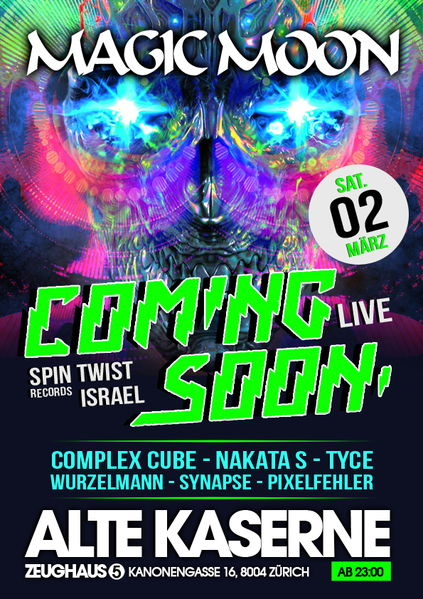 Party Flyer · Magic Moon   Coming Soon Live   Alte Kaserne ZH · 2 ...