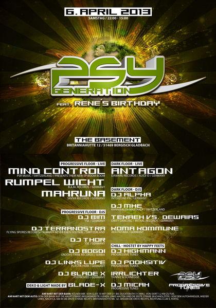 Party flyer: Psy - Generation Part II feat René´s Birthday 6 Apr '13, 22:00