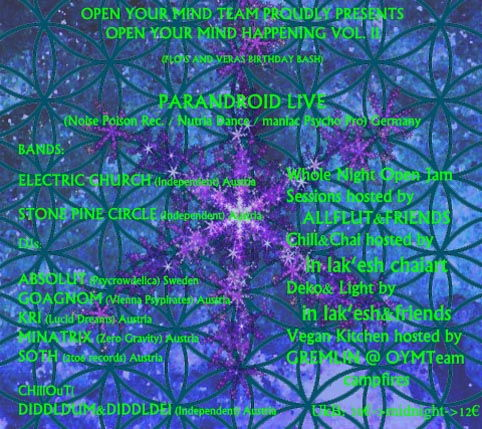 OPEN YOUR MIND VOl. 2 Psychedelic Rock meets Psychedelic/Hi-Tech PARANDROID LIVE 12 Apr '13, 20:30