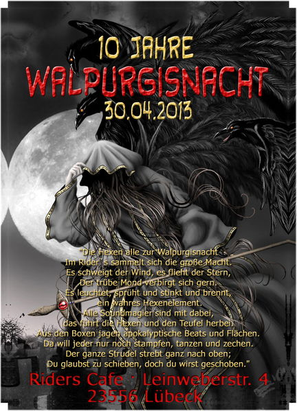 Party flyer: 10 Jahre WALPURGISNACHT; Azax Syndrom, Shiva Chandra, Hatikwa, Brox uvm 30 Apr '13, 22:00