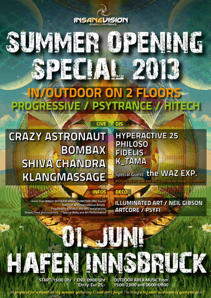 "INSANE VISION pres. ""SUMMER OPENING SPECIAL 2013"" on 2 Floors In/Outdoor 1 Jun '13, 15:00"