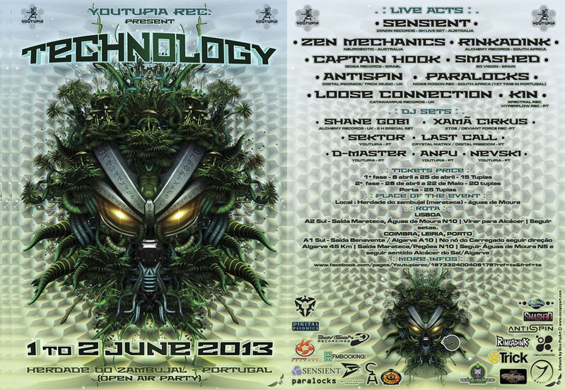 TECHNOLOGY 2013 *SENSIENT*ZEN MECHANICS *RINKADINK*CAPTAIN HOOK*SMASHED* PARALOC 1 Jun '13, 23:00