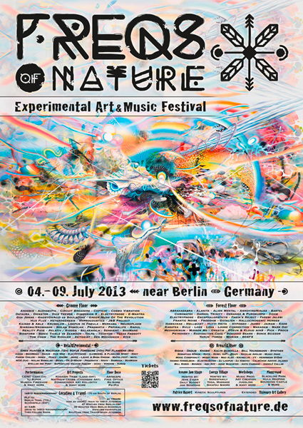 Party flyer: Fullmoon-Festival presents: FREQS OF NATURE 04>09 JULY 2013 4 Jul '13, 23:30