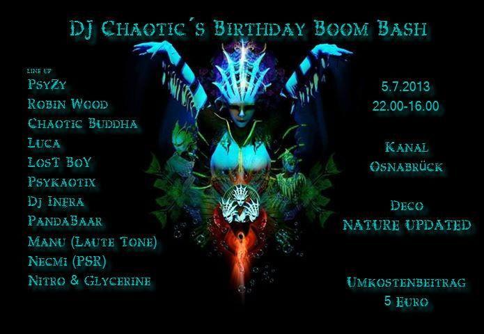 DJ CHAOTIC's BIRTHDAY BOOM BASH 5 Jul '13, 22:00