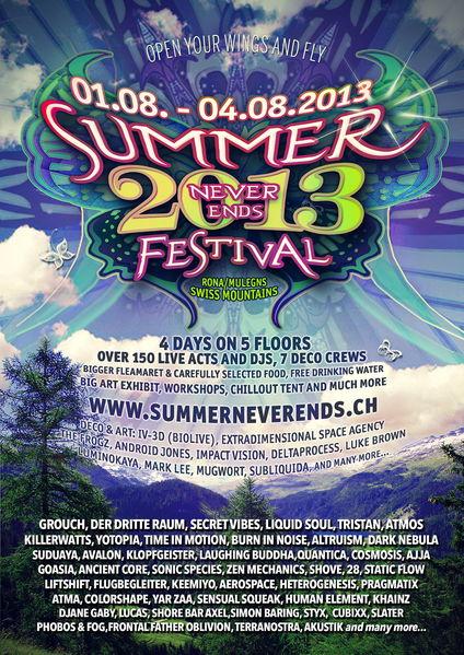 SUMMER NEVER ENDS FESTIVAL 2013, Swiss Alps 1 Aug '13, 12:00