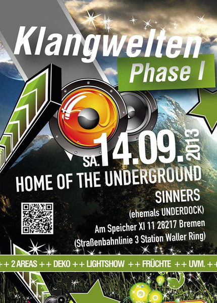 Party flyer: KLangwelten Phase I 14 Sep '13, 22:00