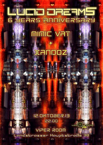 Party flyer: *LUCID DREAMS* 6 YEARS ANNIVERSARY with MIMIC VAT & XANDOZ 12 Oct '13, 22:00