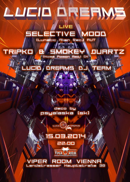 Party flyer: *LUCID DREAMS* BIG BOOM THEORY with Selective Mood/ Tripko & SmokeyQuartz 15 Mar '14, 22:00