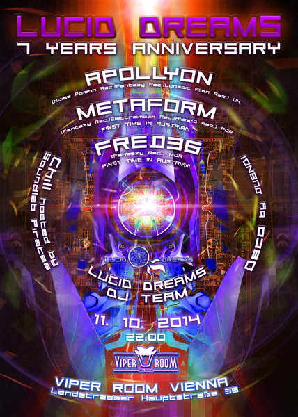 Party flyer: *LUCID DREAMS* 7 YEARS ANNIVERSARY with APOLLYON/ METAFORM/ FREQ36 11 Oct '14, 22:00