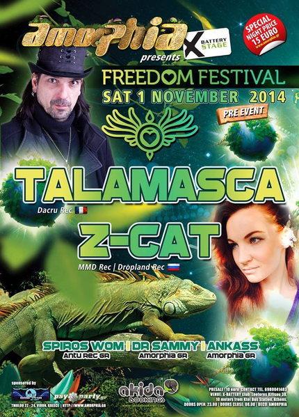 "AMORPHIA - FREEDOM FESTIVAL PRE EVENT ""Talamasca & Z-Cat"" 1 Nov '14, 23:00"