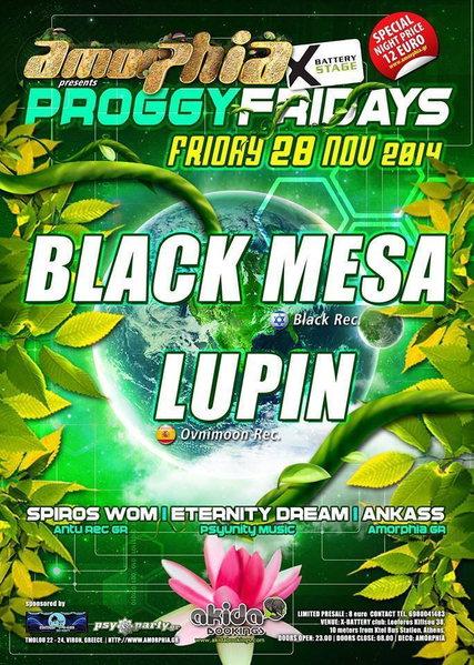 AMORPHIA - PROGGY FRIDAYS BLACK MESA & LUPIN AND FRIENDS! 28 Nov '14, 23:30
