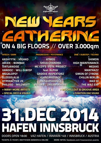 INSANE VISION pres.★ NEW YEAR'S GATHERING 2014 / 15 ★ 31 Dec '14, 18:00