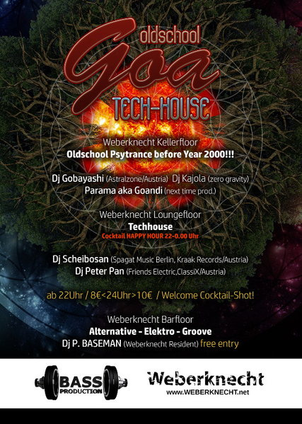 BASSPRODUCTION Oldschool Goa Party & Techhouse floor 12 Sep '15, 22:00
