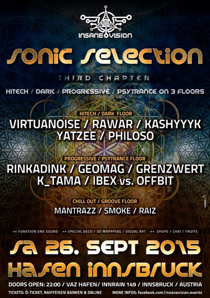 INSANE VISION pres. ★SONIC SELECTION★ on 3 Floors 26 Sep '15, 22:00