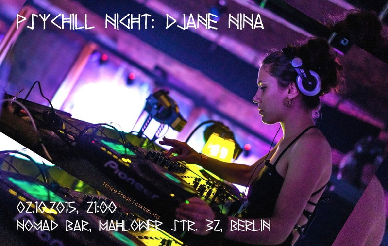 Psychill Night: DJANE NINA - Progressive Beats 3 Oct '15, 21:00