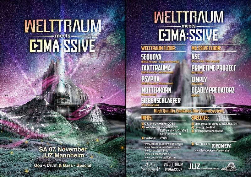 WeltTraum meets MA:SSIVE -- Goa - Drum & Bass - Special 7 Nov '15, 22:00