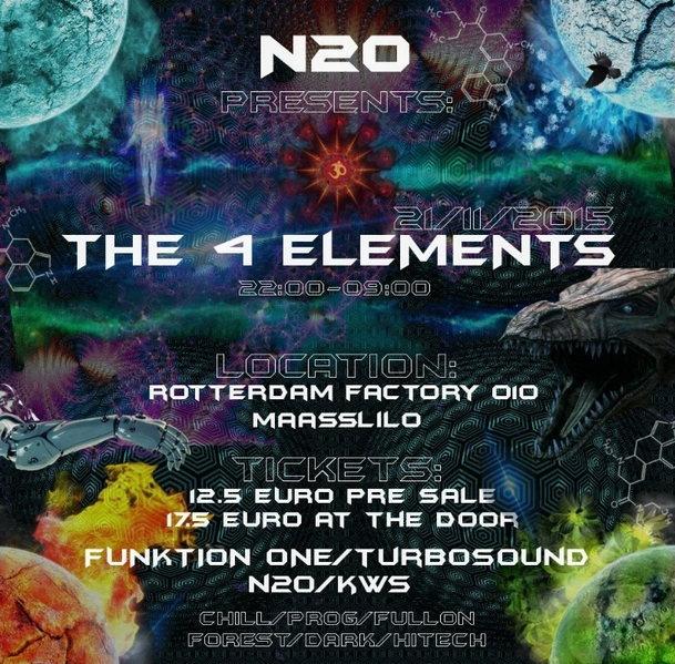 Party flyer: n2o present the 4 elements 21 Nov '15, 22:00