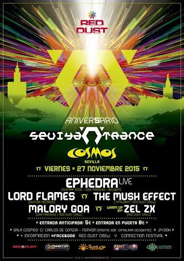 Party flyer: Sevilla N Trance @ Sala Cosmos ,5 Aniversario 27 Nov '15, 23:30