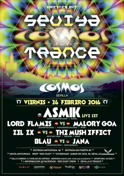 Party flyer: Sevilla 'n' Trance @Sala Cosmos 26/02/2016 / 26 Feb '16, 23:00